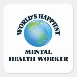 World's Happiest Mental Health Worker Square Sticker