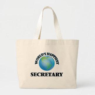 World's Happiest Secretary Jumbo Tote Bag