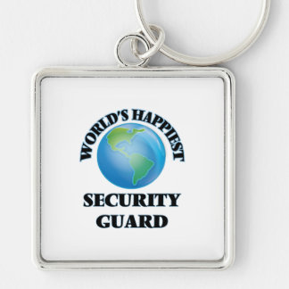 World's Happiest Security Guard Silver-Colored Square Keychain