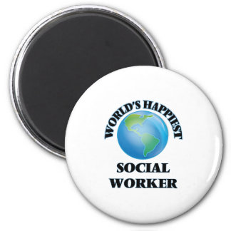 World's Happiest Social Worker 2 Inch Round Magnet