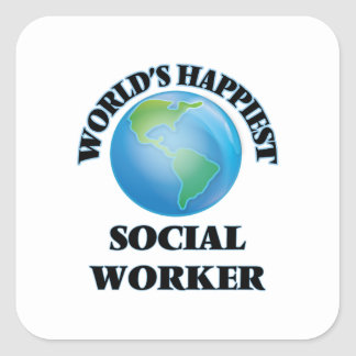 World's Happiest Social Worker Square Sticker