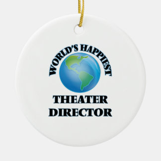 World's Happiest Theater Director Double-Sided Ceramic Round Christmas Ornament