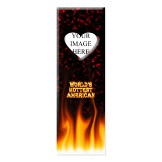 World's Hottest American fire and flames red marbl Mini Business Card