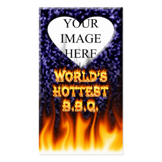World's hottest BBQ fire and flames blue marble Business Card