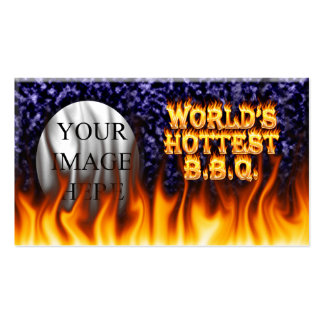 World's hottest BBQ fire and flames blue marble Double-Sided Standard Business Cards (Pack Of 100)
