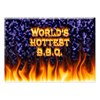 World's hottest BBQ fire and flames blue marble Large Business Card