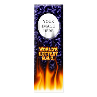 World's hottest BBQ fire and flames blue marble Mini Business Card