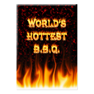 World's hottest BBQ fire and flames red marble. Large Business Card