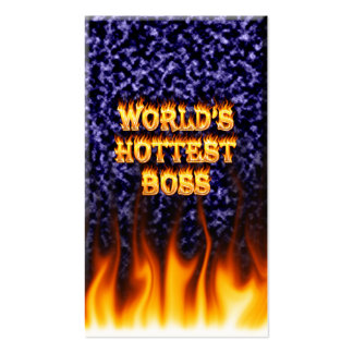 World's hottest Boss fire and flames blue marble. Business Card