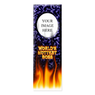 World's hottest Boss fire and flames blue marble. Mini Business Card