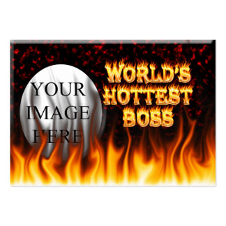 World's hottest Boss fire and flames red marble Large Business Card