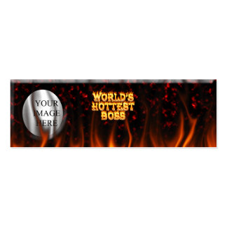 World's hottest Boss fire and flames red marble Mini Business Card