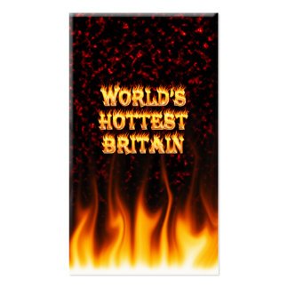 World's Hottest Britain fire and flames red marble Business Card