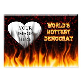 World's Hottest Democrat fire and flames red marbl Large Business Card