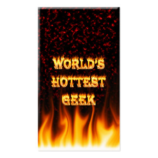 World's hottest Geek fire and flames red marble Business Card