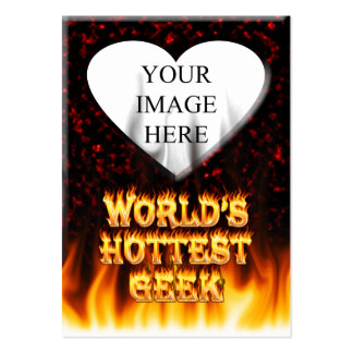 World's hottest Geek fire and flames red marble Large Business Card