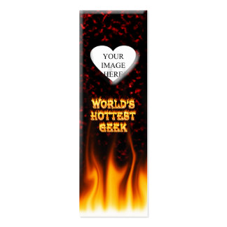 World's hottest Geek fire and flames red marble Mini Business Card