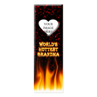 World's hottest Grandma fire and flames red marble Business Cards