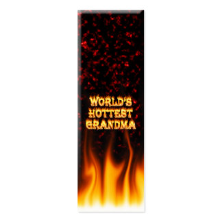 World's hottest Grandma fire and flames red marble Mini Business Card