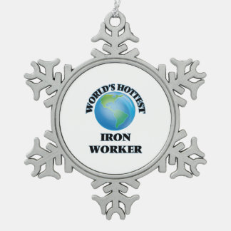 World's Hottest Iron Worker Snowflake Pewter Christmas Ornament
