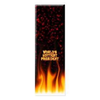 World's Hottest President fire and flames red marb Mini Business Card