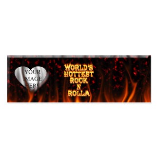 World's Hottest Rock N Rolla fire and flames red m Mini Business Card