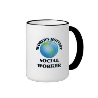 World's Hottest Social Worker Ringer Coffee Mug