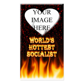 World's Hottest Socialist fire and flames red marb Business Card