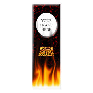 World's Hottest Socialist fire and flames red marb Mini Business Card