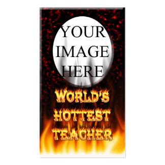 World's hottest Teacher fire and flames red marble Business Card