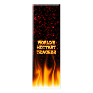 World's hottest Teacher fire and flames red marble Mini Business Card
