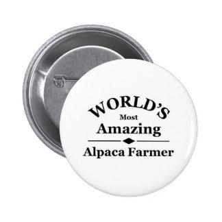 World's most amazing alpaca farmer pinback buttons