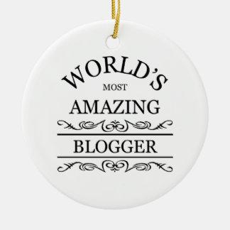 World's most amazing Blogger Round Ceramic Ornament