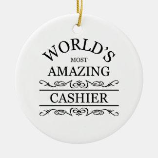 World's most amazing Cashier Ceramic Ornament