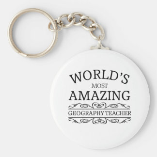 World's most amazing geography teacher basic round button keychain