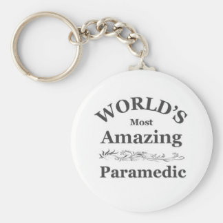 World's most Amazing Paramedic Basic Round Button Keychain
