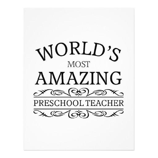 World's most amazing preschool teacher letterhead design
