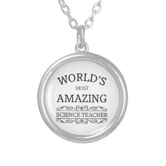 World's most amazing science teacher silver plated necklace
