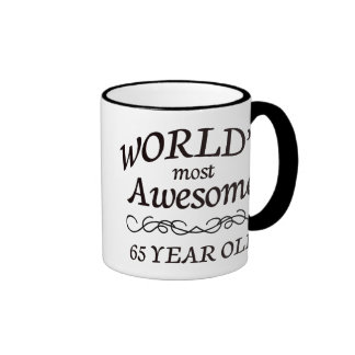 World's Most Awesome 65 Year Old Ringer Coffee Mug