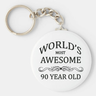 World's Most Awesome 90 Year Old Basic Round Button Keychain