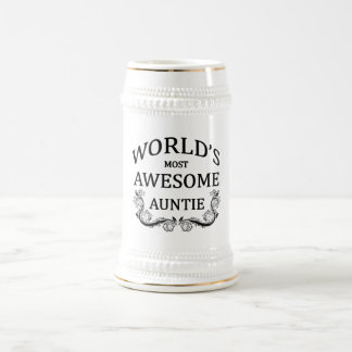World's Most Awesome Auntie 18 Oz Beer Stein
