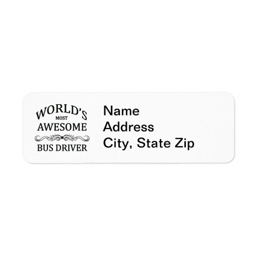 World's Most Awesome Bus Driver Return Address Labels