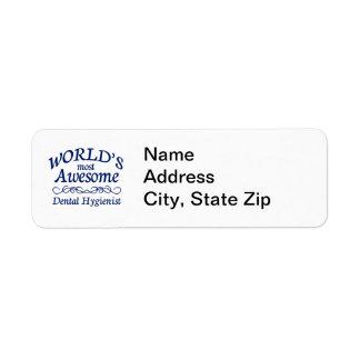 World's Most Awesome Dental Hygienist Return Address Label