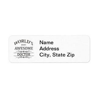 World's Most Awesome Doctor Return Address Label
