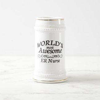 Worlds' Most Awesome ER Nurse 18 Oz Beer Stein