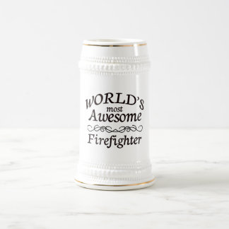 World's Most Awesome Firefighter 18 Oz Beer Stein