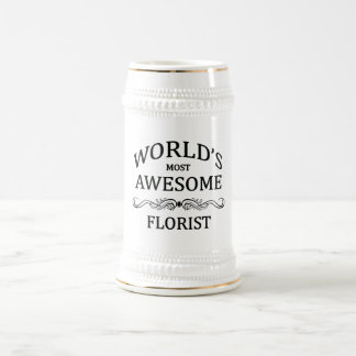 World's Most Awesome Florist 18 Oz Beer Stein