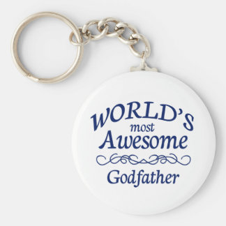 World's Most Awesome Godfather Basic Round Button Keychain