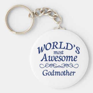 World's Most Awesome Godmother Basic Round Button Keychain