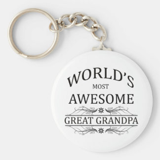 World's Most Awesome Great Grandpa Basic Round Button Keychain